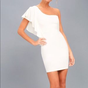 One shoulder white Bodycon Dress